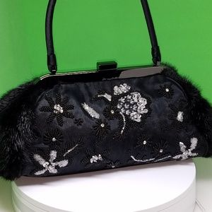 CACHE - STUNNING BEADED FAUX FUR PURSE